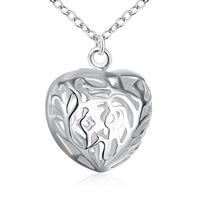 comeon® Jewelry Pendant, Brass, Heart, real silver plated, hollow, nickel, lead & cadmium free, 15x21mm, Hole:Approx 2mm, Sold By PC