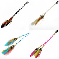 Zinc Alloy Hair Accessories, with Feather & Velveteen Cord & Crystal & Japanese Glass Seed Bead, Feather, plated, Bohemian style & faceted, more colors for choice, 275mm, Sold By PC