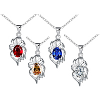 comeon® Jewelry Necklace, Brass, Flower, real silver plated, oval chain & with cubic zirconia, more colors for choice, 12x29mm, Length:Approx 18 Inch, Sold By Strand