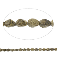 Picture Jasper Beads, Twist, 9x14mm, Hole:Approx 1mm, Length:Approx 15.5 Inch, Approx 28PCs/Strand, Sold By Strand