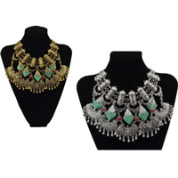 Fashion Statement Necklace, Zinc Alloy, with Synthetic Turquoise & Resin, with 2lnch extender chain, plated, more colors for choice, 39mm,40mm, Length:Approx 15 Inch, Sold By Strand