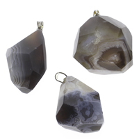 Natural Agate Druzy Pendant, Lace Agate, with iron bail, Nuggets, platinum color plated, dyed & druzy style, coffee color, 27x35x17mm-28x45x18mm, Hole:Approx 3x6mm, Sold By PC