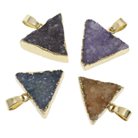 Natural Agate Druzy Pendant, Ice Quartz Agate, with iron bail, Triangle, gold color plated, druzy style, more colors for choice, 20x21x5mm-22x23x14mm, Hole:Approx 3x5mm, Sold By PC