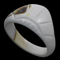 Shell Finger Ring, White Shell, natural, 23x12mm, US Ring Size:9, Sold By PC