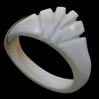 Shell Finger Ring, White Shell, natural, carved, 25x11mm, US Ring Size:9, Sold By PC