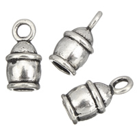 Zinc Alloy End Cap, antique silver color plated, lead & cadmium free, 8x15mm, Hole:Approx 2mm, 4mm, 100G/Bag, Sold By Bag