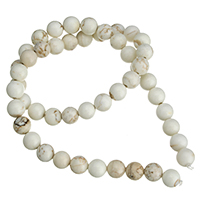 Natural White Turquoise Beads, Round, different size for choice, Length:Approx 15 Inch, Sold By Strand