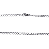 Stainless Steel Figaro Chain, original color, 6x3x1mm, 4.5x3x1mm, Length:Approx 18 Inch, Sold By Strand