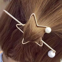 Hair Stick, Zinc Alloy, with Glass Pearl, Star, gold color plated, 65mm,170mm, 2PCs/Set, Sold By Set