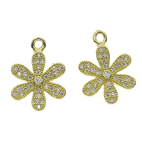 Cubic Zirconia Micro Pave Brass Pendant, Flower, plated, micro pave cubic zirconia, more colors for choice, nickel, lead & cadmium free, 12x18x2mm, Hole:Approx 1.5mm, Sold By PC