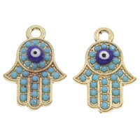 Zinc Alloy Evil Eye Pendant, Evil Eye Hamsa, gold color plated, with resin rhinestone & enamel, lead & cadmium free, 15x21x3mm, Hole:Approx 2mm, Sold By PC