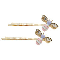 Hair Slide, Zinc Alloy, Bee, gold color plated, enamel & with rhinestone, lead & cadmium free, 60x20x8mm, Sold By PC
