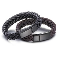 Cowhide Bracelets, titanium steel magnetic clasp, black ionic, braided bracelet & for man, more colors for choice, 14mm, Length:Approx 8.2 Inch, Sold By Strand