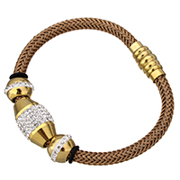 Silicone Stainless Steel Bracelets, with Rhinestone Clay Pave & Silicone & Tiger Tail Wire, gold color plated, braided, 20x13mm, 18x9mm, 8.5x12mm, 5mm, Length:Approx 7.5 Inch, Sold By Strand