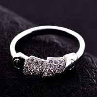 Cubic Zirconia Micro Pave Brass Finger Ring, platinum plated, micro pave cubic zirconia, nickel, lead & cadmium free, 16-19mm, US Ring Size:6-9, Sold By PC