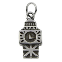 Stainless Steel Pendants, 316L Stainless Steel, Clock, blacken, 10x22x2mm, Hole:Approx 5mm, Sold By PC