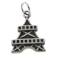 Stainless Steel Pendants, 316L Stainless Steel, Eiffel Tower, blacken, 16x22x2mm, Hole:Approx 5mm, Sold By PC