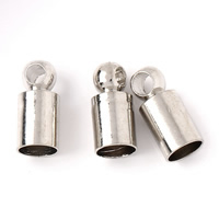 Brass End Cap, Column, platinum color plated, nickel, lead & cadmium free, 3.5x8mm, Hole:Approx 1mm, 3mm, 1000PCs/Bag, Sold By Bag