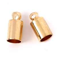 Brass End Cap, Column, gold color plated, nickel, lead & cadmium free, 5x10mm, Hole:Approx 1mm, 4mm, 1000PCs/Bag, Sold By Bag