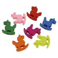 Dyed Wood Beads, Horse, mixed colors, 21x23x4mm, Hole:Approx 1mm, 1000PCs/Bag, Sold By Bag
