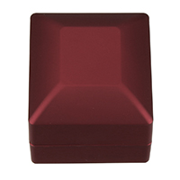 PU Single Ring Box, with Glue Film & Velveteen, Rectangle, red, 59.5x65x49mm, Sold By PC