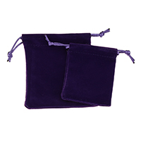 Velveteen Drawstring Pouches, with Nylon Cord, Rectangle, different size for choice, purple, Sold By PC