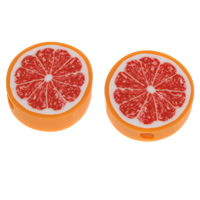 Fruit Polymer Clay Beads, Tangerine, handmade, 25x8mm-26x9mm, Hole:Approx 4mm, Sold By PC