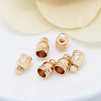 Brass End Cap, 24K gold plated, 5x8mm, Hole:Approx 1mm, 4mm, Sold By PC