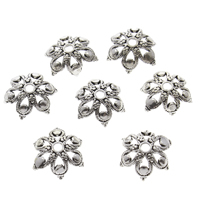 Brass Bead Cap, Flower, real silver plated, blacken, lead & cadmium free, 9x3mm, Hole:Approx 0.8mm, Sold By PC