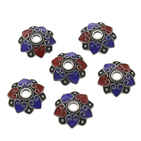 Thailand Sterling Silver Cloisonne Bead Cap, Flower, 13x3mm, Hole:Approx 2.5mm, Sold By PC