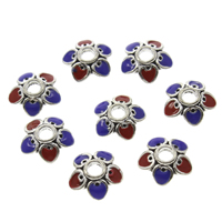Thailand Sterling Silver Cloisonne Bead Cap, Flower, 9x3mm, Hole:Approx 2mm, Sold By PC