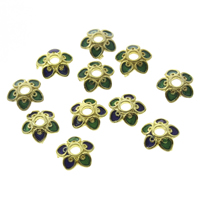 Thailand Sterling Silver Cloisonne Bead Cap, Flower, 7.5x2mm, Hole:Approx 1.5mm, Sold By PC