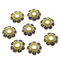 Thailand Sterling Silver Cloisonne Bead Cap, Flower, 10x2.5mm, Hole:Approx 2mm, Sold By PC