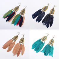 Fashion Feather Earring , Zinc Alloy, with Feather, stainless steel earring hook, antique bronze color plated, enamel, more colors for choice, 23x122mm, Sold By Pair