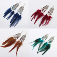 Fashion Feather Earring , Zinc Alloy, with Feather & Glass Seed Beads, stainless steel earring hook, antique silver color plated, Bohemian style, more colors for choice, 20x150mm, Sold By Pair