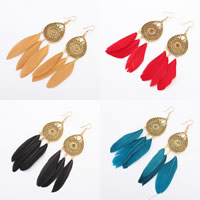 Fashion Feather Earring , Zinc Alloy, with Feather, stainless steel earring hook, gold color plated, enamel & hollow, more colors for choice, 37x115mm, Sold By Pair