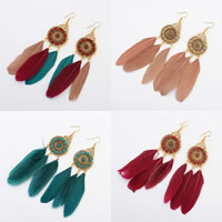 Fashion Feather Earring , Zinc Alloy, with Feather & Velveteen, stainless steel earring hook, gold color plated, enamel, more colors for choice, 36x110mm, Sold By Pair