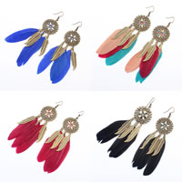 Fashion Feather Earring , Zinc Alloy, with Feather, stainless steel earring hook, antique bronze color plated, enamel, more colors for choice, 24x103mm, Sold By Pair