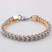 Unisex Bracelet, Stainless Steel, plated, twist oval chain & two tone, 6mm, Length:Approx 8.6 Inch, Sold By Strand