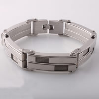 Men Bracelet, Stainless Steel, with Tiger Tail Wire, plated, for man, 13mm, Length:Approx 8.6 Inch, Sold By Strand