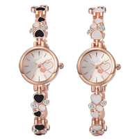comeon® Women Jewelry Watch, Zinc Alloy, with Glass, rose gold color plated, enamel & with rhinestone, more colors for choice, 22mm, Length:Approx 8.3 Inch, Sold By PC