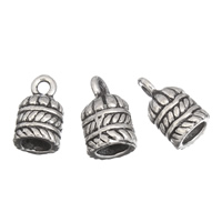 Zinc Alloy End Cap, antique silver color plated, lead & cadmium free, 9x15mm, Hole:Approx 1mm, 5mm, 100G/Bag, Sold By Bag