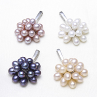 Freshwater Pearl Pendants, with Brass, Flower, platinum color plated, more colors for choice, 4-5mm, 22x30x11mm, Hole:Approx 2x7mm, Sold By PC