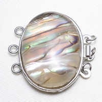 Brass Box Clasp, with Shell, Flat Oval, platinum color plated, natural & 3-strand, nickel, lead & cadmium free, 32x32x10mm, Hole:Approx 2mm, Sold By PC
