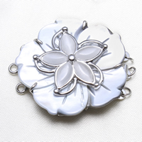 Brass Box Clasp, with Cats Eye & Black Shell, Flower, platinum color plated, 3-strand, nickel, lead & cadmium free, 38x33x9mm, Hole:Approx 2mm, Sold By PC