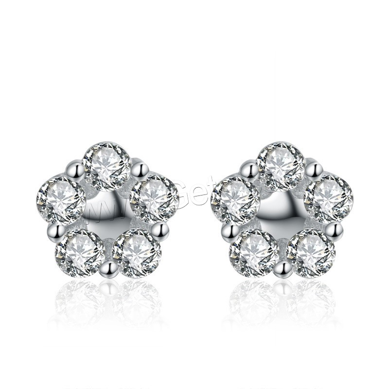 Cubic Zirconia Micro Pave Sterling Silver Earring, 925 Sterling Silver, Flower, platinum plated, micro pave cubic zirconia, 8x8mm, Sold By Pair