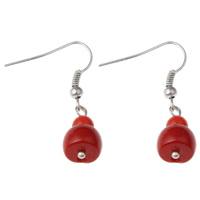 Coral Drop Earring, Natural Coral, iron earring hook, platinum color plated, natural, red, 9x34mm, Sold By Pair
