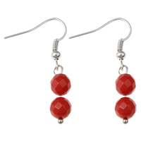 Coral Drop Earring, Natural Coral, iron earring hook, platinum color plated, natural & faceted, red, 7x36mm, Sold By Pair