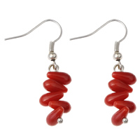 Coral Drop Earring, Natural Coral, iron earring hook, Teardrop, platinum color plated, natural, red, 9x40mm, Sold By Pair