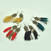 Fashion Feather Earring , Zinc Alloy, with Feather & Glass Seed Beads & Wood, brass earring hook, antique bronze color plated, with rhinestone, more colors for choice, 20x75mm, Sold By Pair